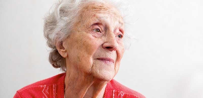 A headshot of an elderly woman
